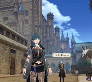 Fire Emblem three houses Byleth wandering the academy Nintendo Switch