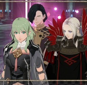 Hubert Byleth and Edelgard fire Emblem three houses Nintendo Switch