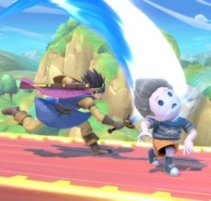 Dragon Quest hero hitting Lucas with sword super Smash Bros ultimate Nintendo Switch SquareEnix