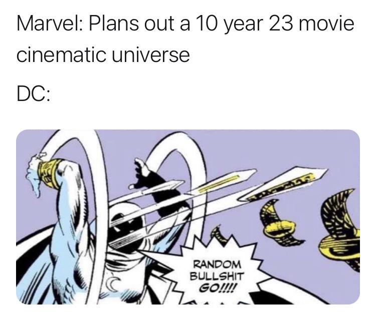 Memes Marvel versus DC silver screen movies