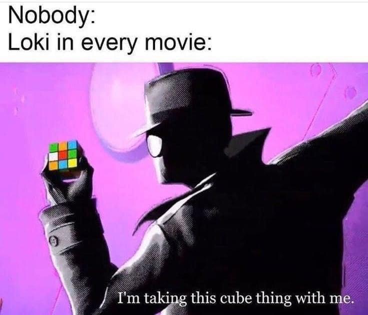Memes Loki taking the Tesseract