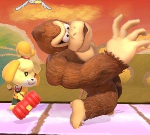 Isabelle using hammer on donkey Kong super Smash Bros ultimate Nintendo Switch animal crossing
