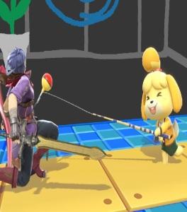 Isabelle using fishing rod on Ike super Smash Bros ultimate Nintendo Switch animal crossing