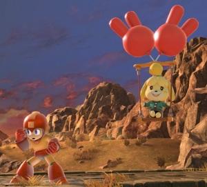 Isabelle balloon float evading Megaman super Smash Bros ultimate Nintendo Switch animal crossing