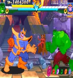 Thanos vs hulk Marvel super heroes arcade Capcom
