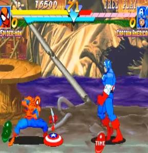 Captain America vs Spiderman Marvel super heroes arcade Capcom