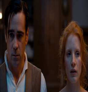 Julie and John miserable faces Miss Julie Jessica Chastain Colin Ferrell