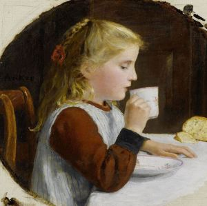 Blonde girl drinking tea