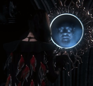 Evil Queen Regina talking to magic mirror Sidney Glass once upon a time ABC