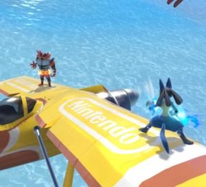 Incineroar vs lucario Pilotwings Stage super Smash Bros ultimate Nintendo Switch