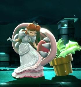Piranha plant biting Princess Daisy super Smash Bros ultimate Nintendo Switch