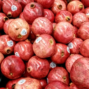 Pomegranates at the grocery store