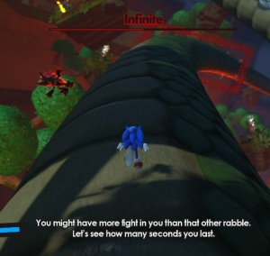 Sonic running First battle Infinite sonic forces Nintendo Switch Xbox One PS4 Sega