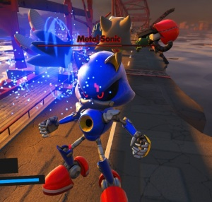 Sonic attacking Metal Sonic Sonic forces Nintendo Switch Xbox One PS4 Sega