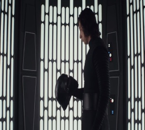 Kylo Ren takes off his helmet Star Wars The Last Jedi  Adam driver
