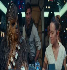 Poe rey Palpatine and Chewbacca flying the Falcon