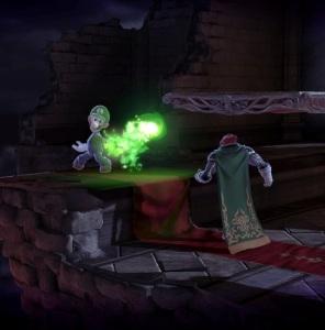 Luigi shooting green fireballs at Ganondorf Dracula's Castle Stage super Smash Bros ultimate Nintendo Switch Konami Castlevania