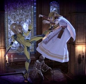 Zero suit Samus kicks princess Zelda Dracula's Castle Stage super Smash Bros ultimate Nintendo Switch Konami Castlevania