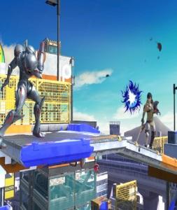 Dark samus shooting blast at Chrom Moray Towers stage super Smash Bros ultimate Nintendo Switch splatoon