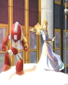 Princess Zelda hitting Megaman with magic New Donk City Hall Stage super Smash Bros ultimate Nintendo Switch