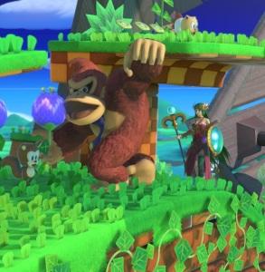 Donkey Kong vs palutena Windy Hill Zone Stage super Smash Bros ultimate Nintendo Switch sonic the Hedgehog Sega