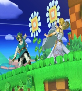 Princess Zelda vs hero Windy Hill Zone Stage super Smash Bros ultimate Nintendo Switch sonic the Hedgehog Sega