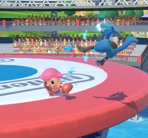 Villager punching lucario Wuhu Island Stage super Smash Bros ultimate Nintendo Switch