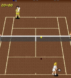 Singles match Clay Court Super Tennis SNES super Nintendo