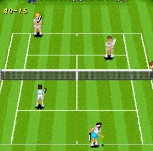 Doubles match Green Court Super Tennis SNES super Nintendo