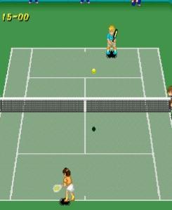 Japanese woman playing tennis Super Tennis SNES super Nintendo