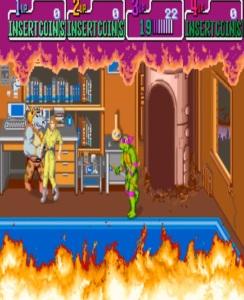 Donatello vs rocksteady Teenage Mutant Ninja Turtles Konami arcade game