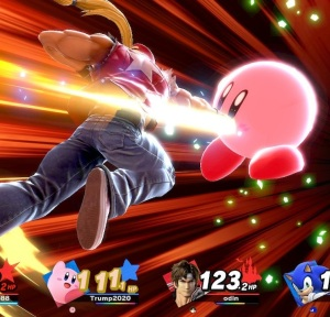 Kirby hit by final Smash Terry Bogard super Smash Bros ultimate Nintendo Switch SNK