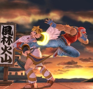 Pit kicked by Terry Bogard super Smash Bros ultimate Nintendo Switch SNK