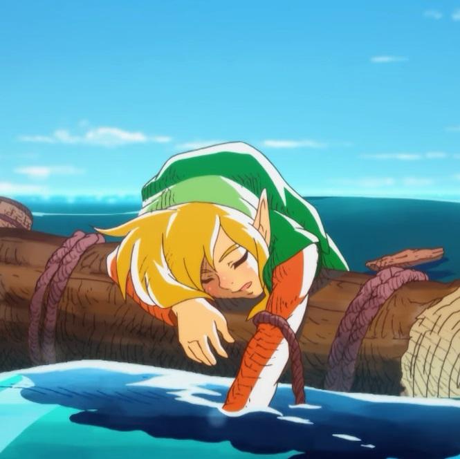 The Legend of Zelda Link's Awakening link on a raft at sea Nintendo Switch