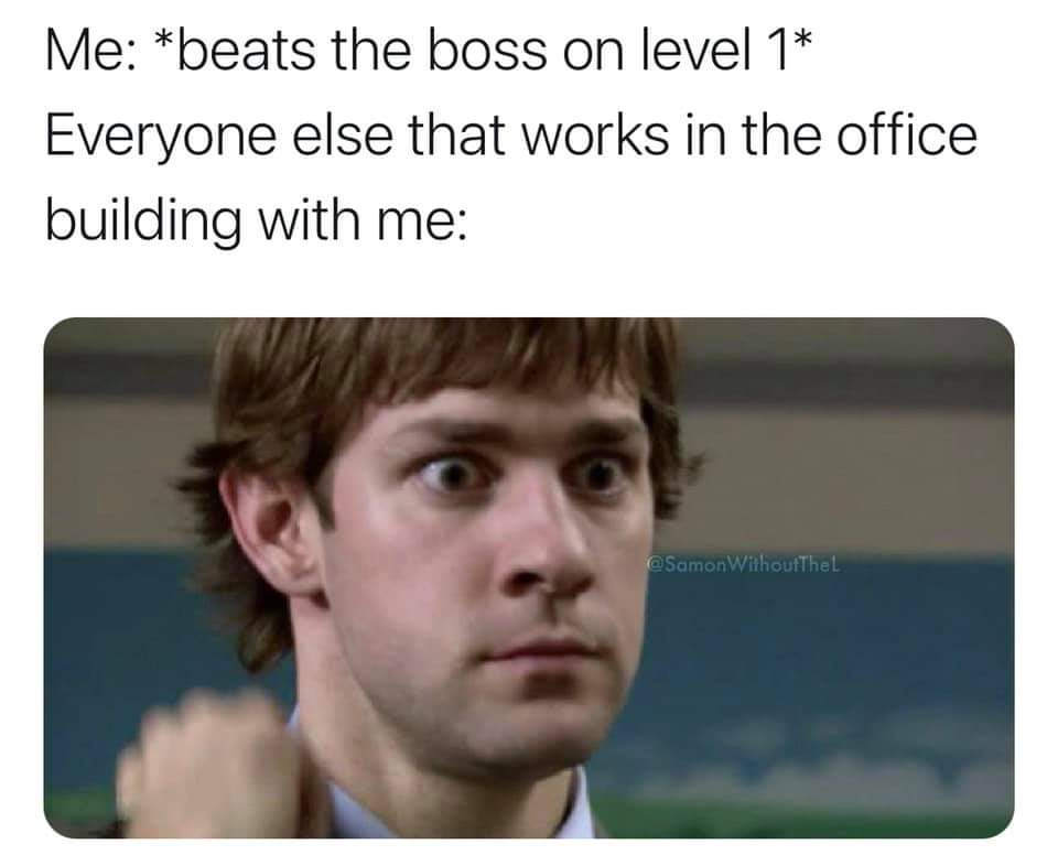 Memes beating the boss on level one