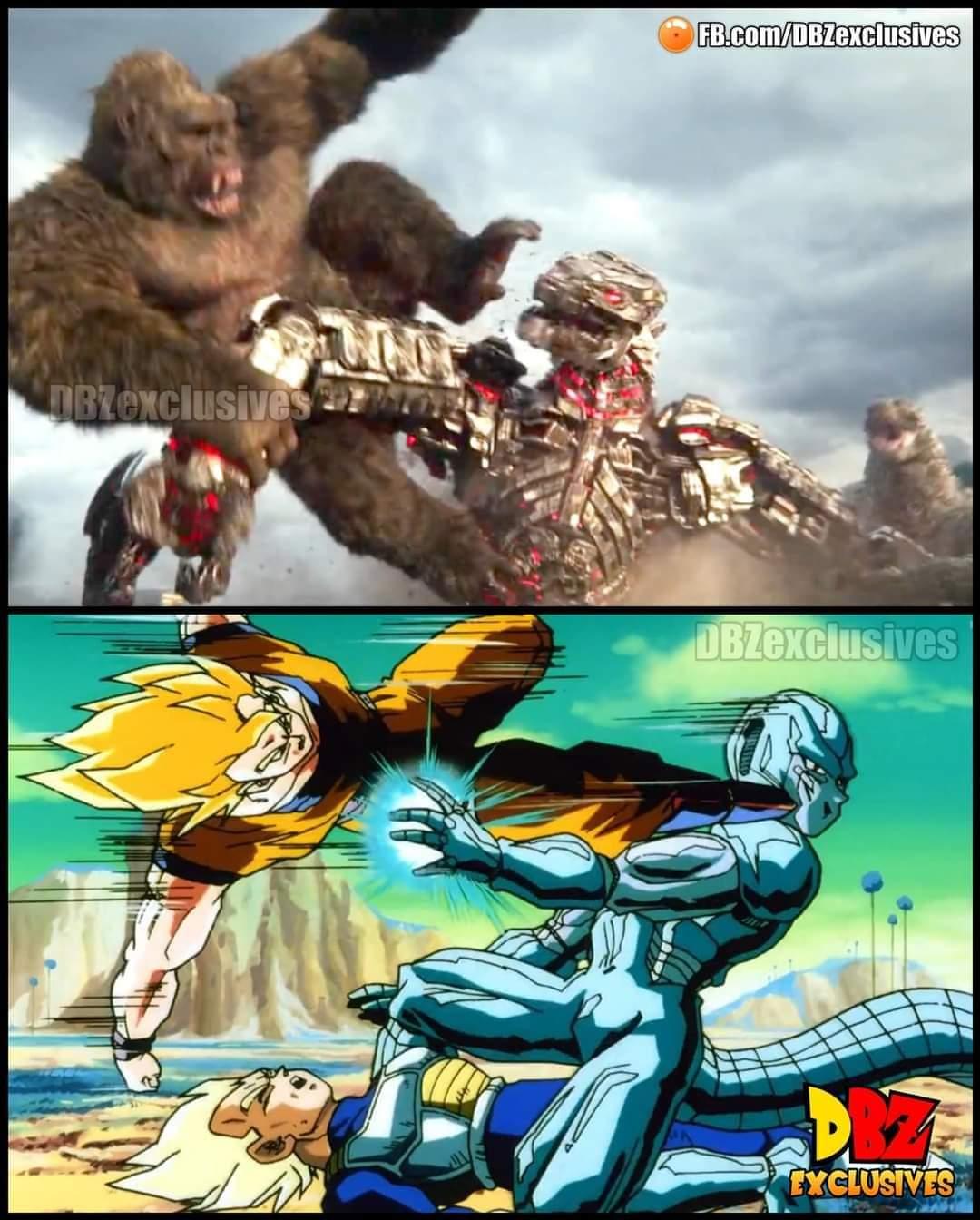 Memes Goku versus cooler King Kong versus Mecha Godzilla