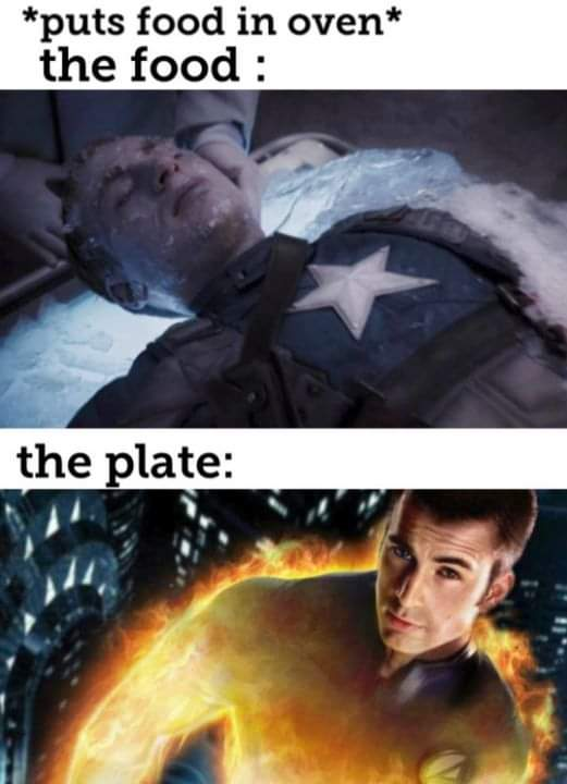 Memes microwave captain America Johnny storm