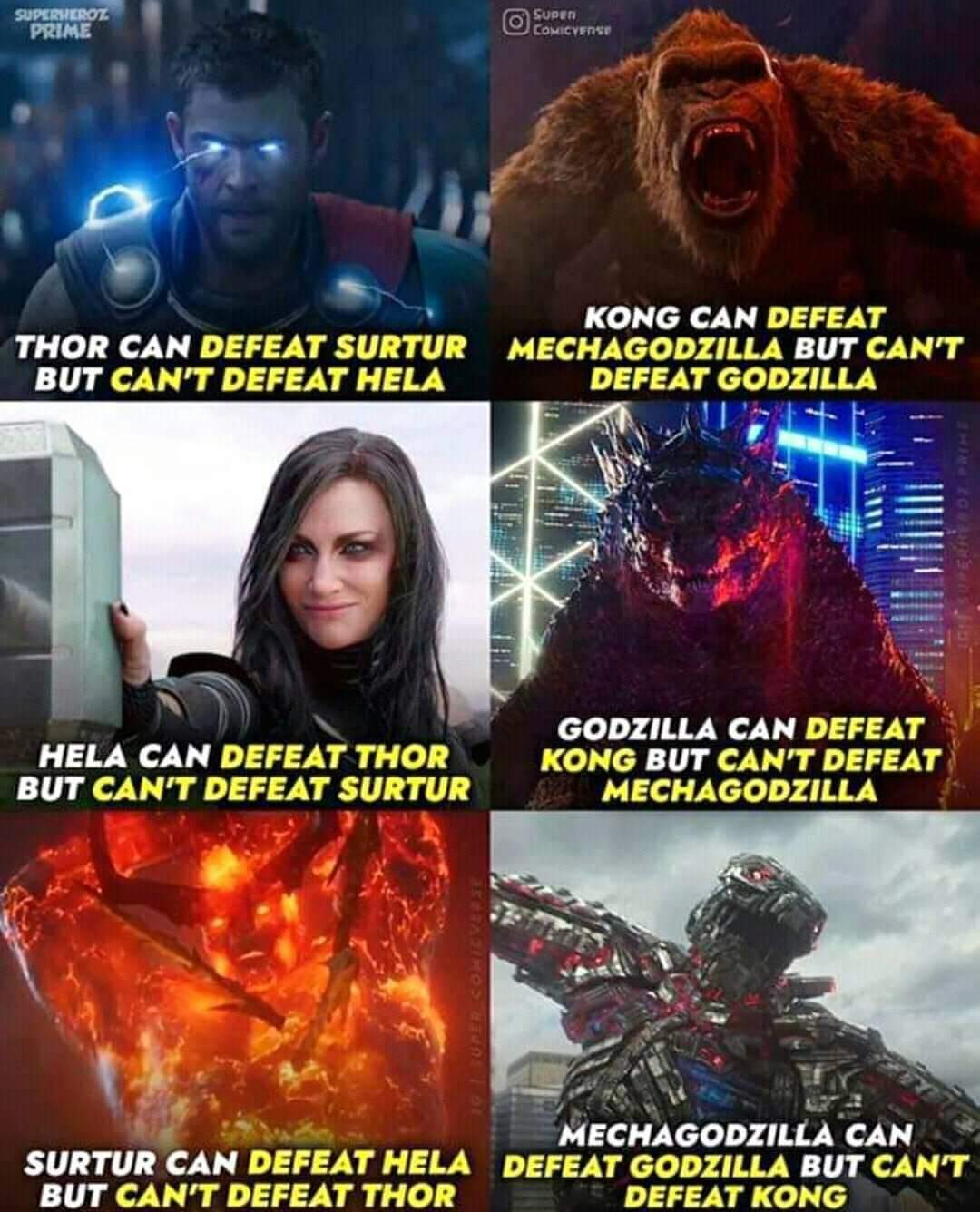 Memes King Kong versus Godzilla Thor Ragnarok
