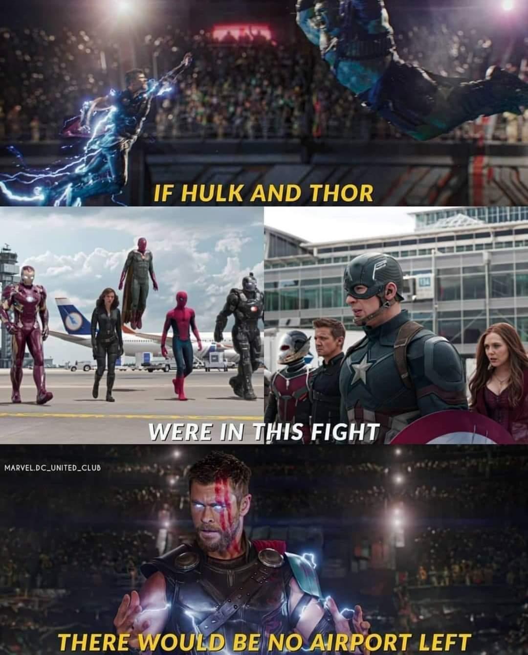 Memes Thor and hulk captain America Civil War