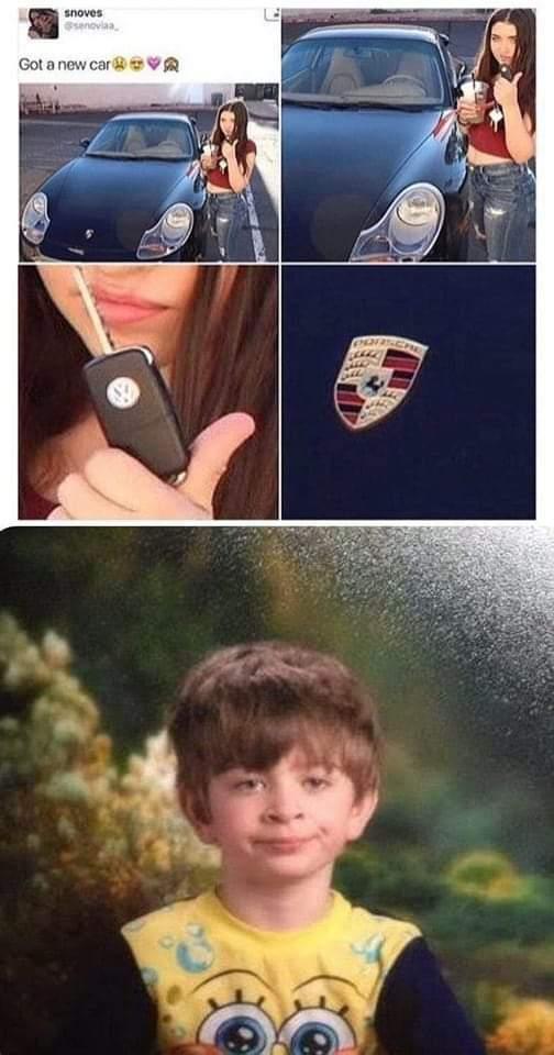 Memes girl pretending she has a new Ferrari