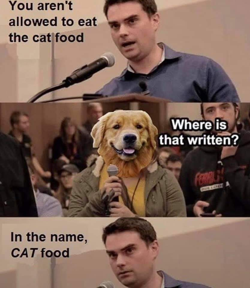 Memes dogs eating cat food