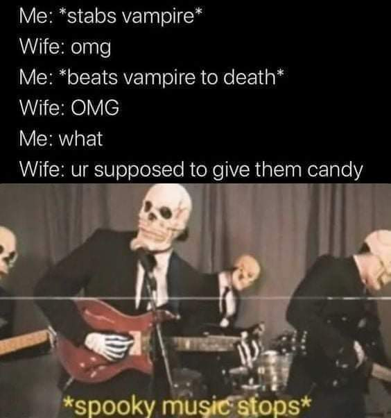 Memes Halloween trick-or-treaters