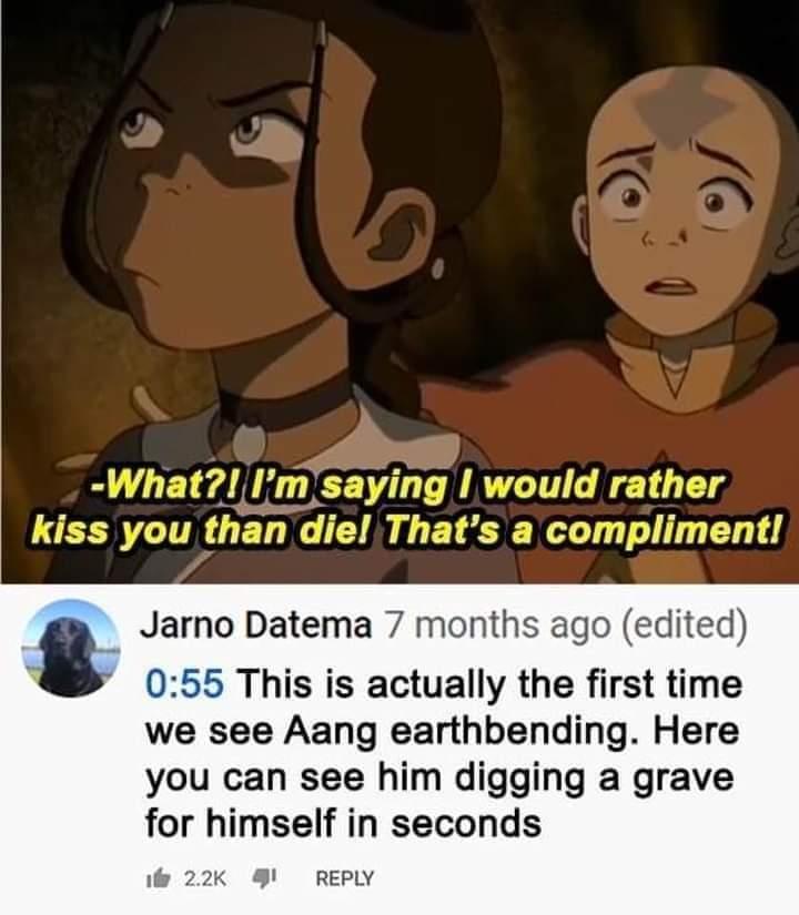 Memes aang and katara kiss Avatar the last Airbender nickelodeon
