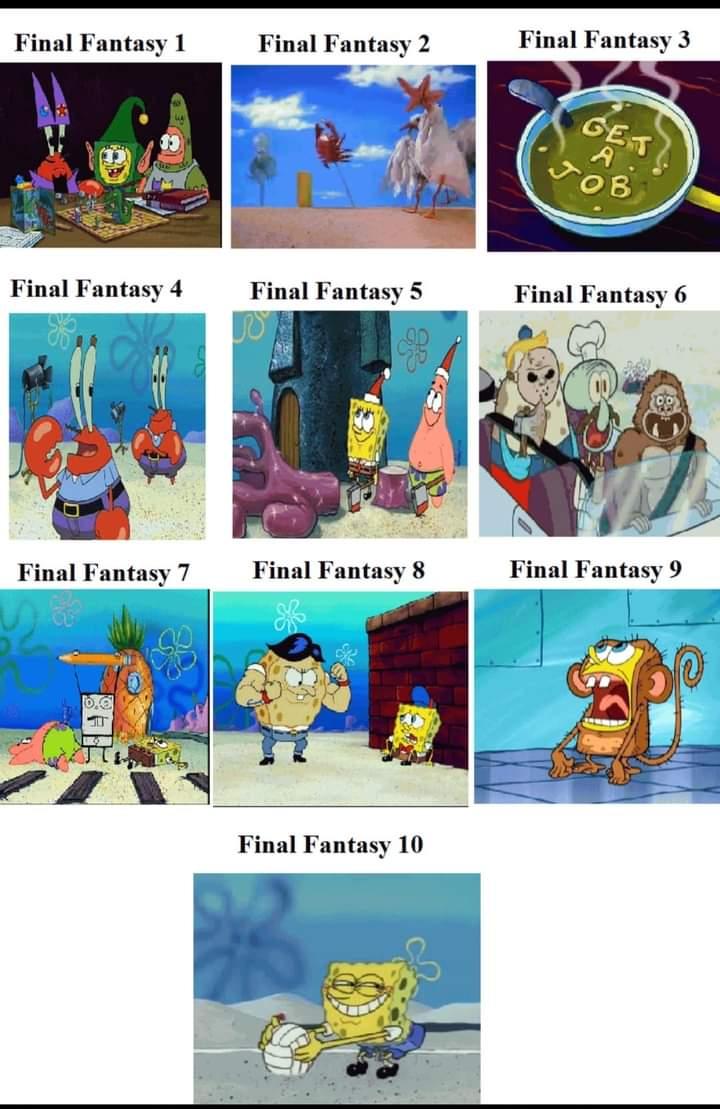Final Fantasy 1 through 10 video game memes