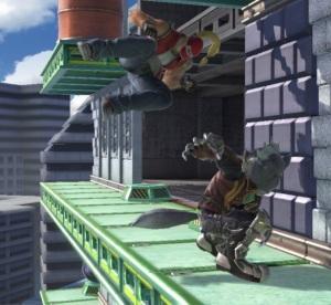 Wolf kicking Terry Wrecking crew stage super Smash Bros ultimate Nintendo Switch
