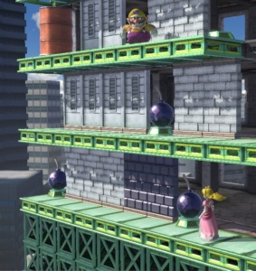 Wario vs princess peach Wrecking crew stage super Smash Bros ultimate Nintendo Switch