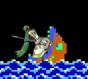 Palutena eaten by fish Balloon Fight Stage super Smash Bros ultimate Nintendo Switch
