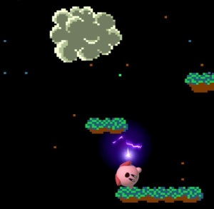 Kirby hit by lightning bolt Balloon Fight Stage super Smash Bros ultimate Nintendo Switch