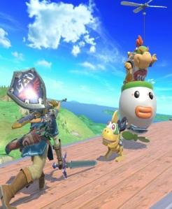 Bowser Jr throws little robot at Link super Smash Bros ultimate Nintendo Switch