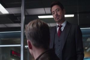 Captain America: Civil War Tony Stark arguing with Steve Rogers Robert Downey Jr and Chris Evans